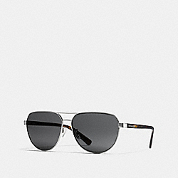 COACH BROOKS PILOT SUNGLASSES - GUNMETAL/DARK TORTOISE - L1658
