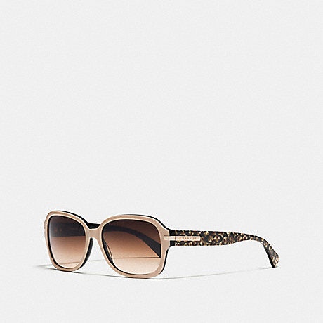 COACH ASIA FIT AMBER RECTANGLE SUNGLASSES - BEIGE BLACK/BEIGE OCELOT - L546