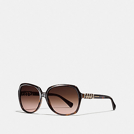 COACH ASIA FIT WHIPLASH SQUARE SUNGLASSES - DARK TORTOISE - L555
