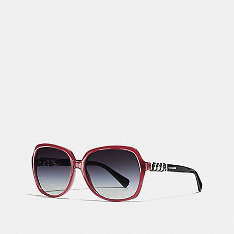 COACH ASIA FIT WHIPLASH SQUARE SUNGLASSES - MILKY BLACK CHERRY/BLACK - L555