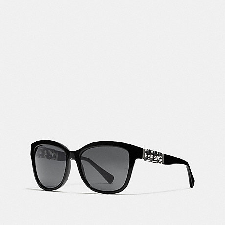 COACH ASIA FIT WHIPLASH WAYFARER SUNGLASSES - BLACK - L556