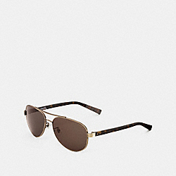 COACH THOMPSON SUNGLASSES - ANTIQUE BRASS/DARK TORTOISE - L601