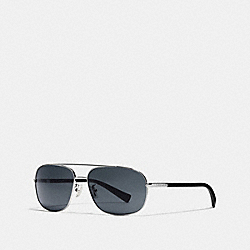 COACH TAG TEMPLE NAVIGATOR SUNGLASSES - GUNMETAL/MATTE BLACK - L812