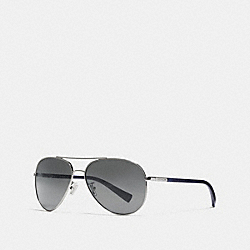 TAG TEMPLE PILOT SUNGLASSES - SLVR MATTE NVY/FLASH - COACH L813