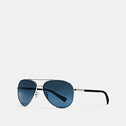 TAG TEMPLE PILOT SUNGLASSES - GUNMETAL/BLACK BLUE MIRROR - COACH L813