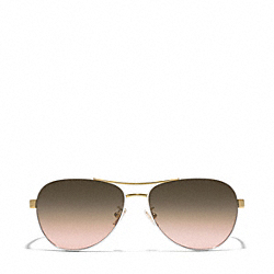 COACH KIERA AVIATOR SUNGLASSES - GOLD/WHITE - L925