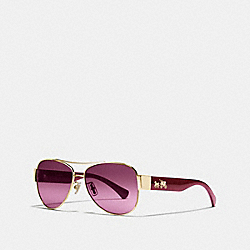 COACH OLIVIA SUNGLASSES - LIGHT GOLD/AUBERGINE - L944