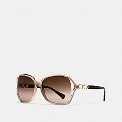 COACH KISSING C SUNGLASSES - CRYSTAL LIGHT BROWN/DARK TORTOISE - L948