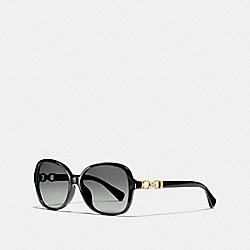 COACH KISSING C RECTANGLE SUNGLASSES - BLACK - L949