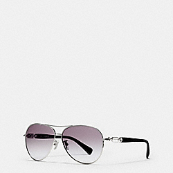 COACH HANG TAG CHAIN PILOT SUNGLASSES - SILVER/BLACK - L952