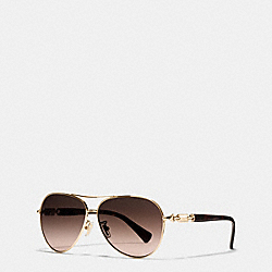 COACH HANG TAG CHAIN PILOT SUNGLASSES - LIGHT GOLD/DK TORT - L952