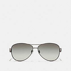 COACH KRISTINA POLARIZED SUNGLASSES - DARK SILVER/BLACK - LP012