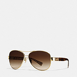 COACH CHRISTINA POLARIZED SUNGLASSES - GOLD/DARK TORTOISE MULTICOLOR - LP103