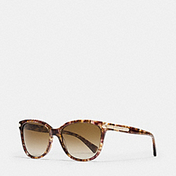 COACH TAG TEMPLE CAT EYE POLARIZED SUNGLASSES - CONFETTI LIGHT BROWN - LP109