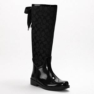Coach - Tristee- Lace Up Rain Boot Black/black 10 B
