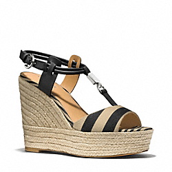 COACH LEAH WEDGE - BLACK CAMEL/BLACK - Q6057