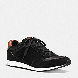 COACH REBECCA SNEAKER - BLACK/SADDLE - Q6816