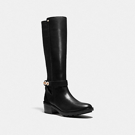 COACH PEARLA LEATHER TURNLOCK BOOT - BLACK/BLACK - q7677
