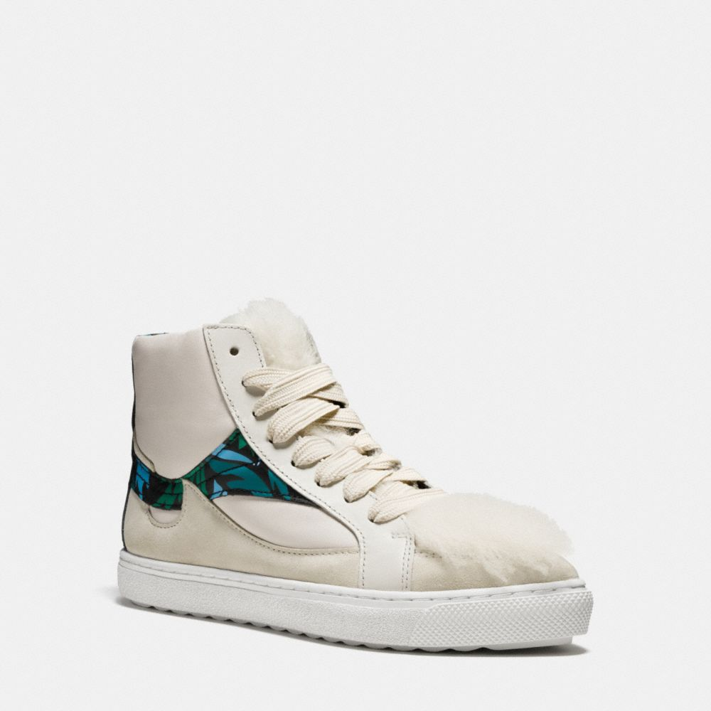 Coach C203 Shearling Pointy Toe High Top Sneaker