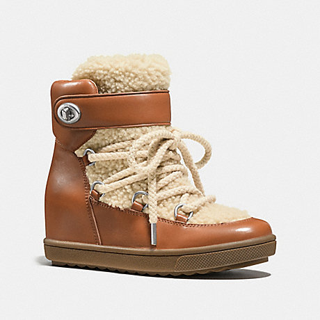 COACH MONROE SHEARLING BOOTIE - SADDLE - q8829