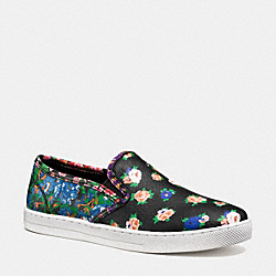 COACH PARKSIDE SLIP ON SNEAKER - BLACK/BLACK BLUE - Q9100