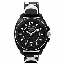 COACH BOYFRIEND PRINTED RUBBER STRAP - BLACK/WHITE - W1000