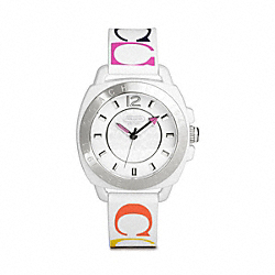 COACH BOYFRIEND SILICON RUBBER STRAP WATCH - WHITE/MULTICOLOR - W1000