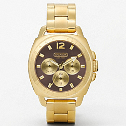 COACH BOYFRIEND GOLD PLATED COLOR DIAL BRACELET WATCH - BROWN - W1002