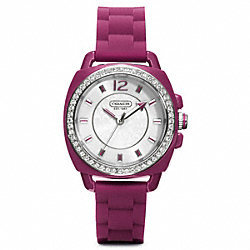 BOYFRIEND CRYSTAL STAINLESS STEEL RUBBER STRAP - BERRY - COACH W1024