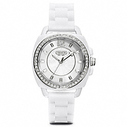 COACH BOYFRIEND CRYSTAL STAINLESS STEEL RUBBER STRAP WATCH - ONE COLOR - W1024