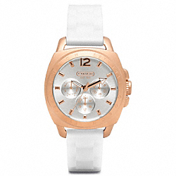BOYFRIEND ROSE GOLD RUBBER STRAP WATCH COACH W1039