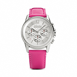 COACH SIGNATURE CHRONO STAINLESS STEEL PATENT LEATHER STRAP WATCH - ONE COLOR - W1084