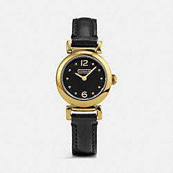 COACH MADISON GOLD PLATED LEATHER STRAP WATCH - BLACK - W1155