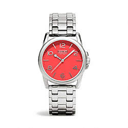 COACH SYDNEY STAINLESS STEEL BRACELET WATCH - CORAL - W1190