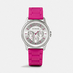COACH CLASSIC SIGNATURE SPORT STAINLESS STEEL RUBBER STRAP - FUCHSIA - W1204
