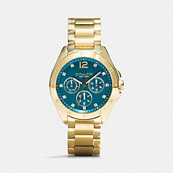 COACH TRISTEN GOLD PLATED COLOR DIAL BRACELET WATCH - TEAL - W1207