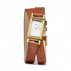 MADISON GOLD PLATED DOUBLE WRAP STRAP WATCH - BROWN - COACH W1218