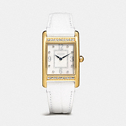 LEXINGTON LARGE CRYSTAL GOLD PLATED STRAP WATCH - WHITE - COACH W1224