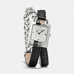 TORI STAINLESS STEEL CHAIN DOUBLE WRAP WATCH - BLACK - COACH W1251
