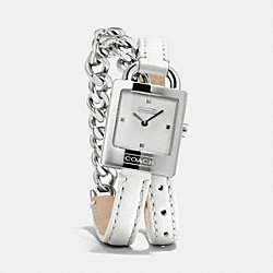 COACH TORI STAINLESS STEEL CHAIN DOUBLE WRAP WATCH - WHITE - W1251