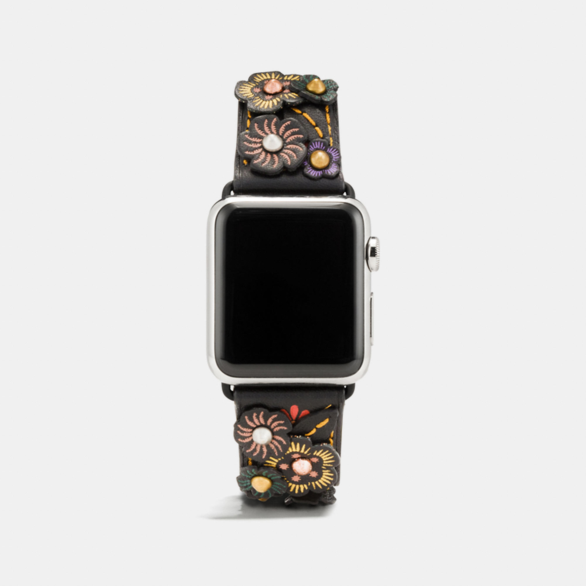 Coach Apple Watch Leather Strap With Tea Rose Applique