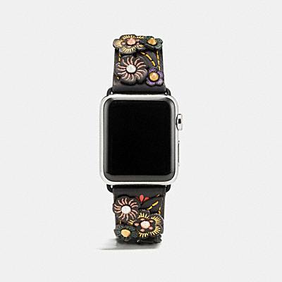 APPLE WATCH® 茶香玫瑰貼飾皮革錶帶