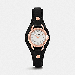 COACH DREE ROSE GOLD PLATED LEATHER BUCKLE CUFF WATCH - BLACK - W1329