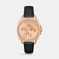 COACH BOYFRIEND SMALL ROSE GOLD PLATED CRYSTAL STRAP WATCH - BLACK - W1348