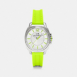 C.O.A.C.H. BOYFRIEND STAINLESS STEEL RUBBER STRAP WATCH - FLUORESCENT YELLOW - COACH W1362