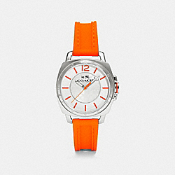 C.O.A.C.H. BOYFRIEND STAINLESS STEEL RUBBER STRAP WATCH - FLUORESCENT ORANGE - COACH W1362