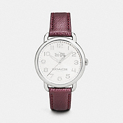 COACH DELANCEY STAINLESS STEEL LEATHER STRAP WATCH - BLACK CHERRY - COACH W1412