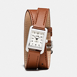COACH THOMPSON STAINLESS STEEL DOUBLE WRAP WATCH - SADDLE - W1425