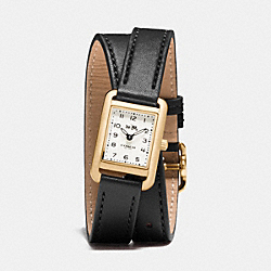 COACH THOMPSON GOLD PLATED DOUBLE WRAP WATCH - BLACK - W1426