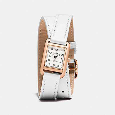 COACH THOMPSON ROSE GOLD PLATED DOUBLE WRAP WATCH - WHITE - w1427